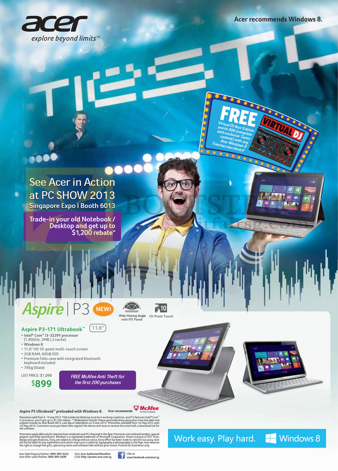 PC SHOW 2013 price list image brochure of Acer Aspire P3-171 Ultrabook Notebook