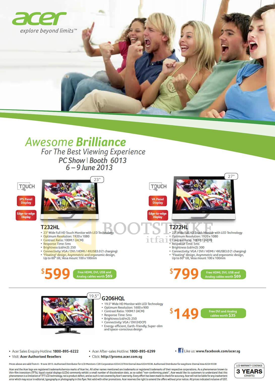 PC SHOW 2013 price list image brochure of Acer Monitors T232HL, T272HL, G206HQL