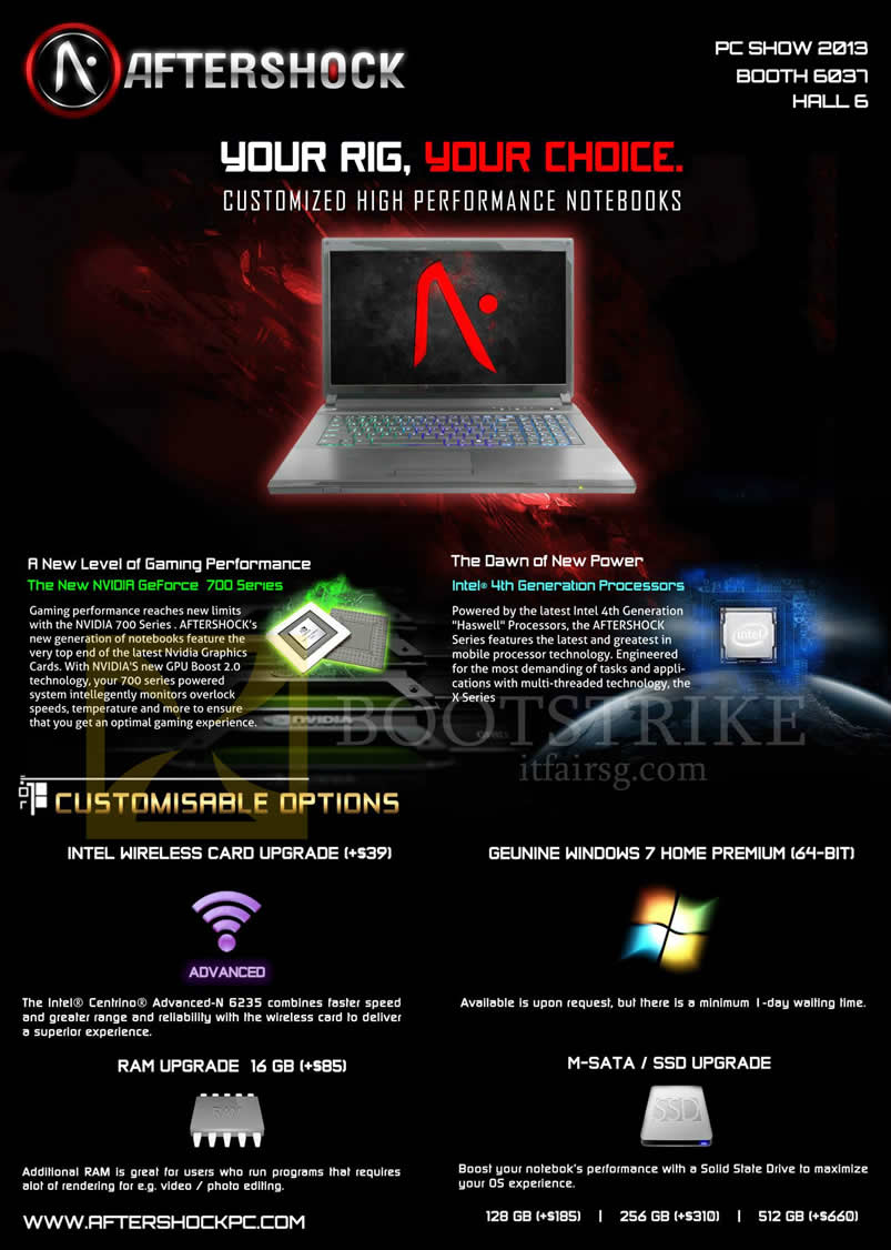 PC SHOW 2013 price list image brochure of Aftershock Notebooks Features, Customisable Options