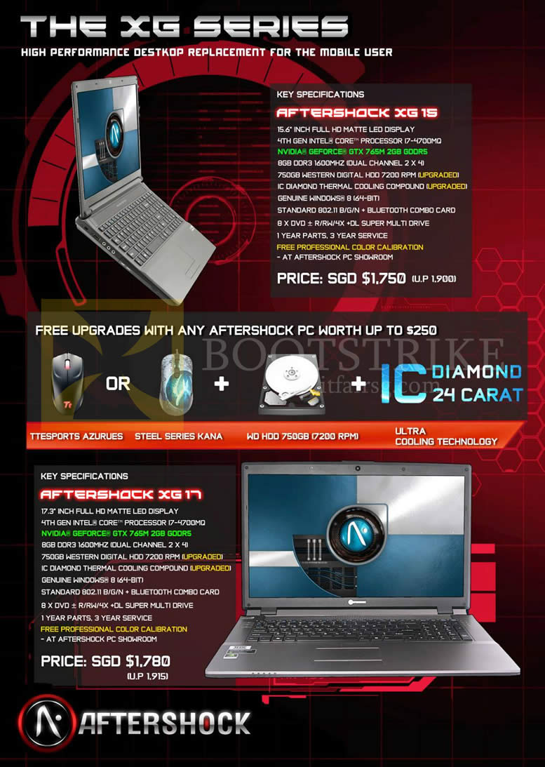 PC SHOW 2013 price list image brochure of Aftershock Notebooks XG15, XG17