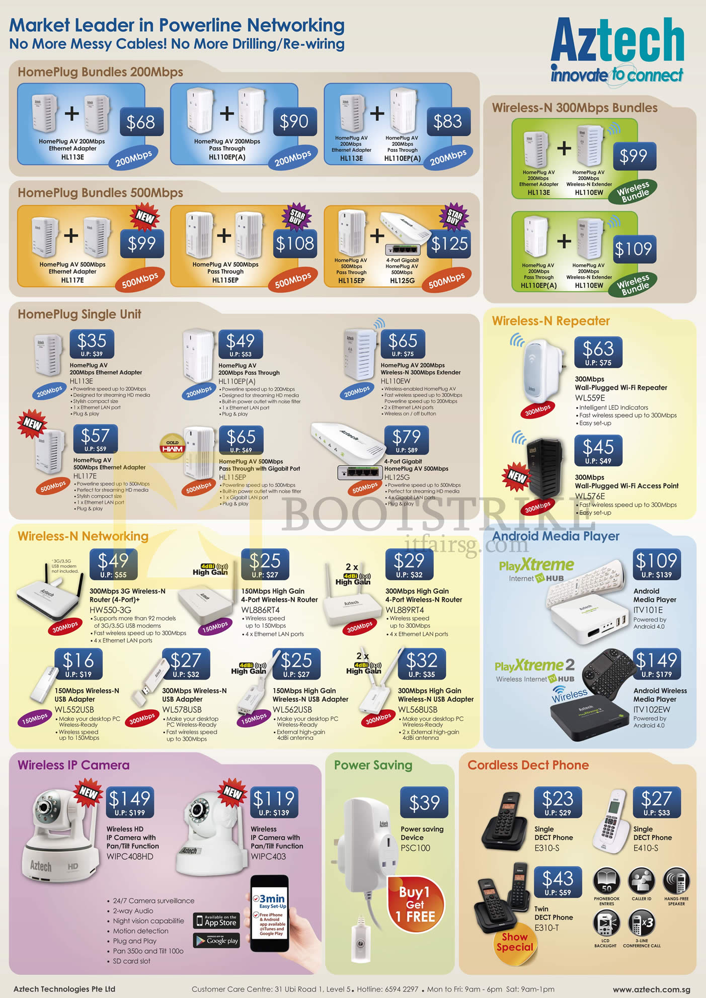 PC SHOW 2013 price list image brochure of Aztech Networking HomePlug Bundles, Wireless Routers, Repeater, Android Media Player PlayXtreme 2, USB Adapter, IPCam, Power Saving, Dect Phone