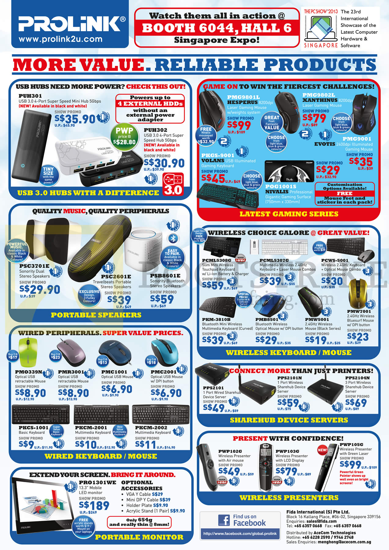 PC SHOW 2013 price list image brochure of Cybermind Prolink Networking Accessories USB Hub, Mouse, Keyboards, Speakers, Wireless, Device Server, Monitor, Presenter