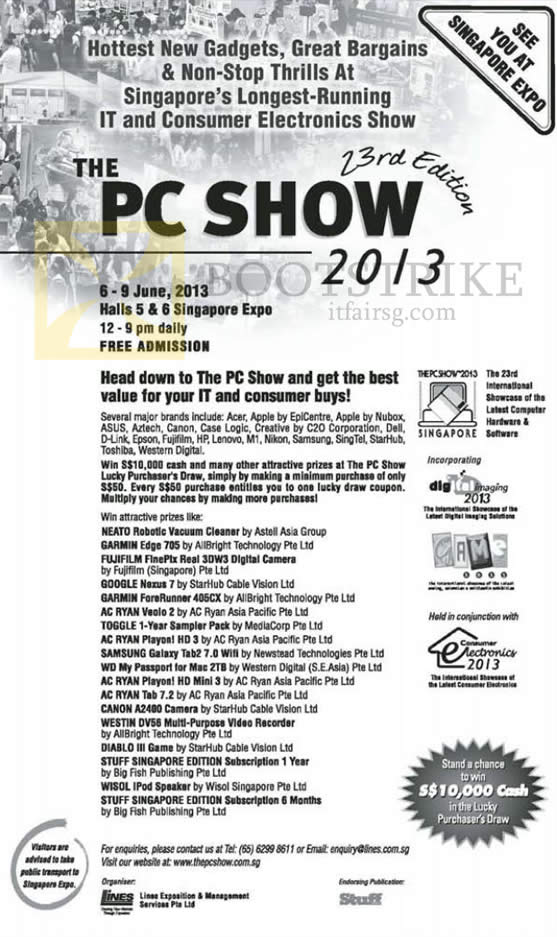 PC SHOW 2013 price list image brochure of Dates, Times, Venues, Exhibitors, Brands, Lucky Draw