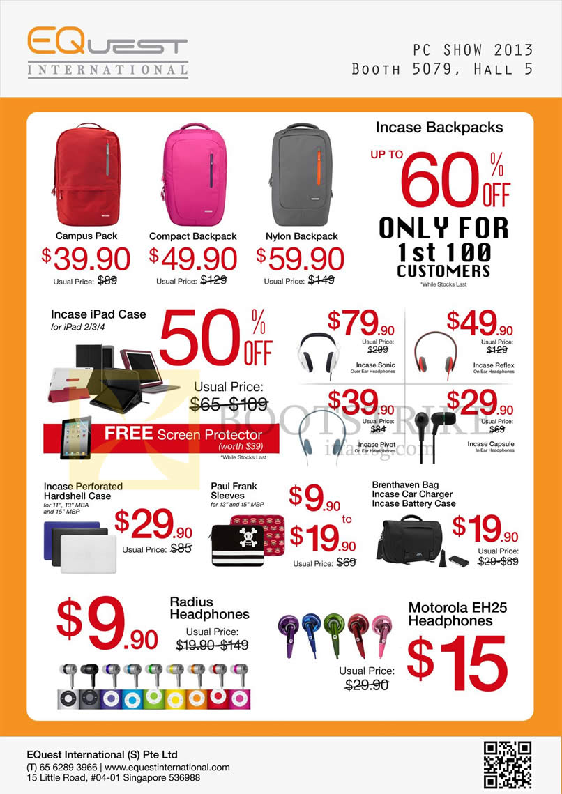 PC SHOW 2013 price list image brochure of EQuest Accessories Bags, Packs, Incase Case, Headphones Sonic Reflex Pivot Capsule, Paul Frank Sleeves, Motorola EH25
