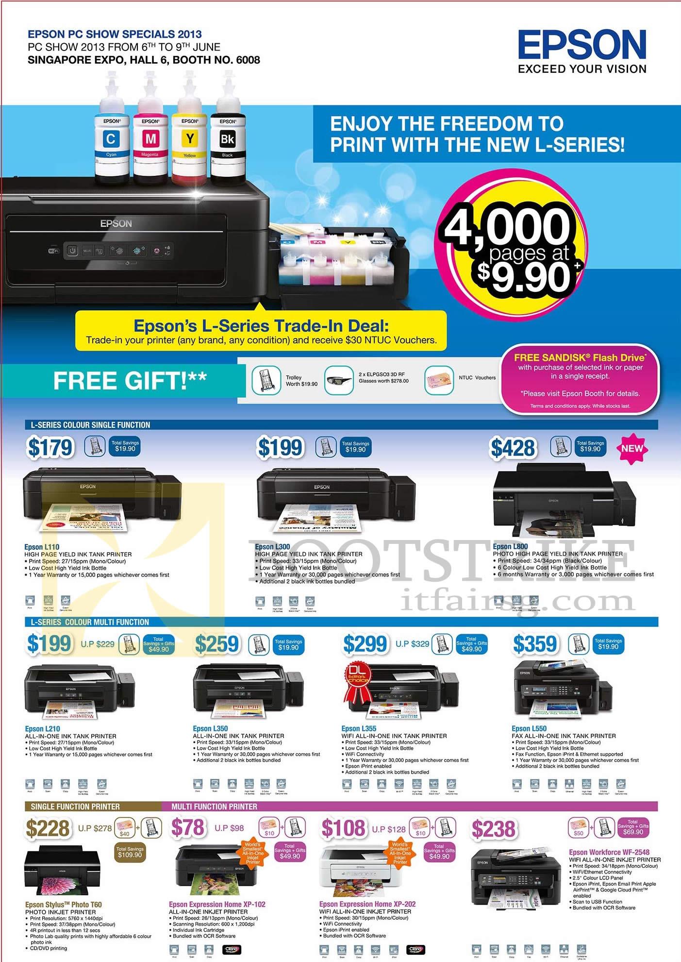 Epson Printers Inkjet L110, L300, L800, L210, L350, L355