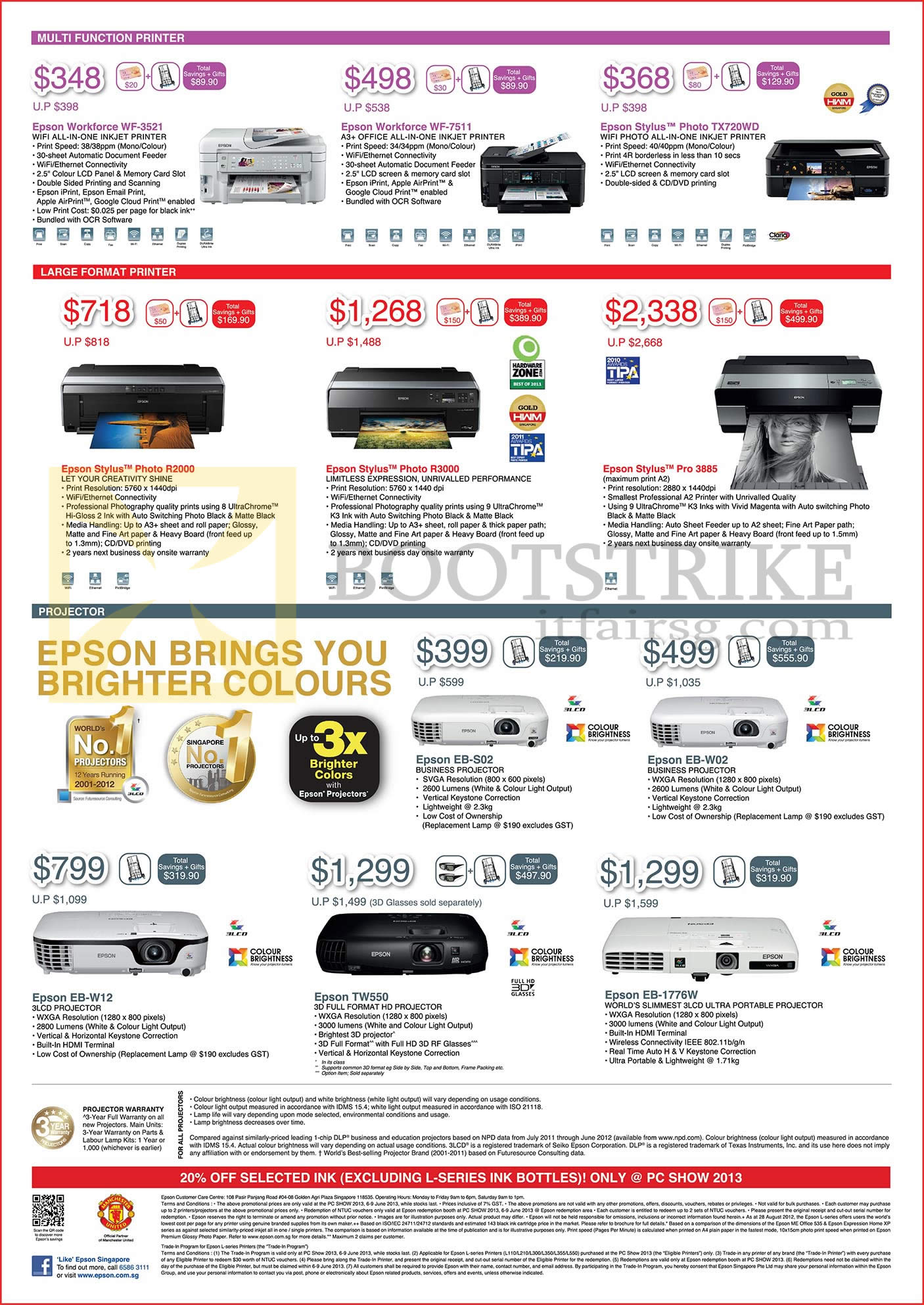 PC SHOW 2013 price list image brochure of Epson Printers Inkjet, Projectors Workforce WF-3521, WF-7511, Stylus Photo TX-720WD, R2000, R3000, Pro 3885, EB-S02, EB-W02, EB-W12, TW550, EB-1776W