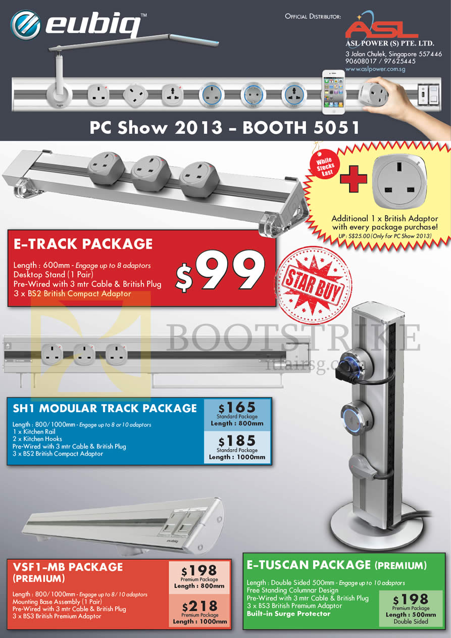 PC SHOW 2013 price list image brochure of Eubiq Power Outlet System Packages 99 Dollar E-Track, SH1 Modular Track Package, VSF1-MB Package Premium, E-TUSCAN Package Premium