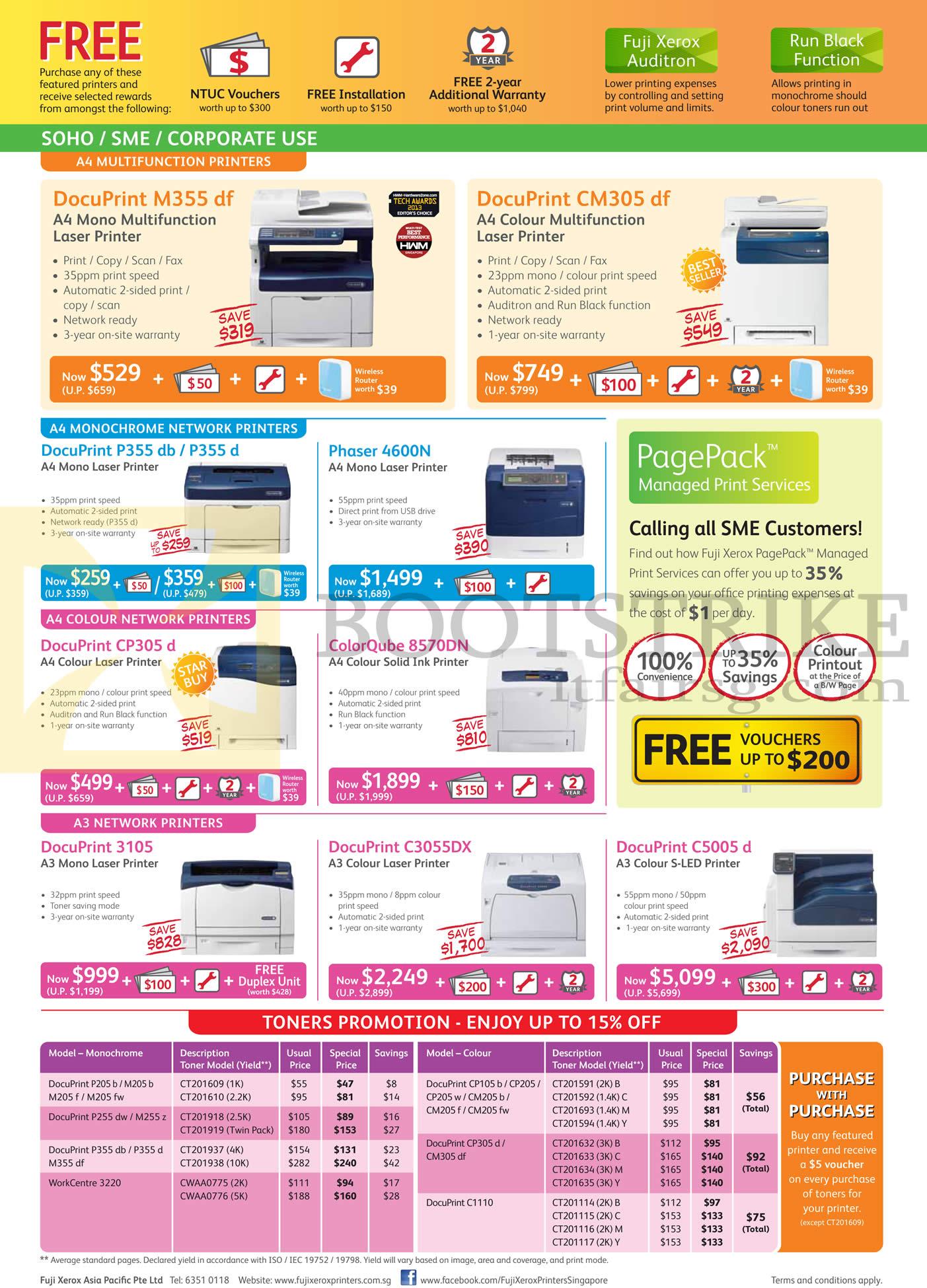 Fuji Xerox Printers DocuPrint M355df, CM305df, P355db, P355d, 4600N