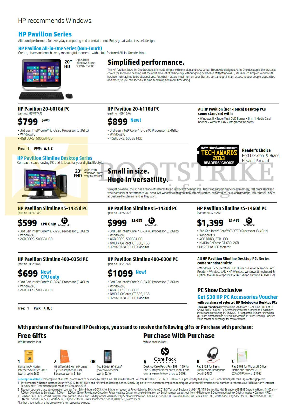 PC SHOW 2013 price list image brochure of HP Desktop PCs, AIO Desktop PCs, Pavilion 20-b018d, 20-b118d, Slimline S5-1435d, S5-1430d, S5-1460d, 400-035d, 400-030d