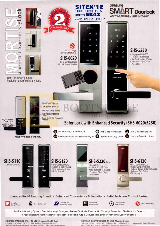 Hanman Digital Door Locks Samsung Shs 6020 Shs 5230 Shs