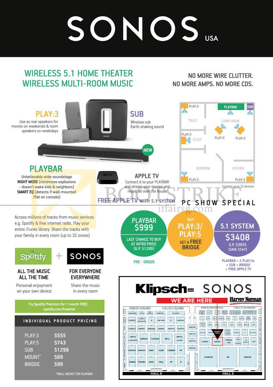 PC SHOW 2013 price list image brochure of Harvey Norman Sonos Wireless 5.1 Home Theatre Wireless Multi Room Music, Free Apple TV, Playbar, Play, 5.1 System
