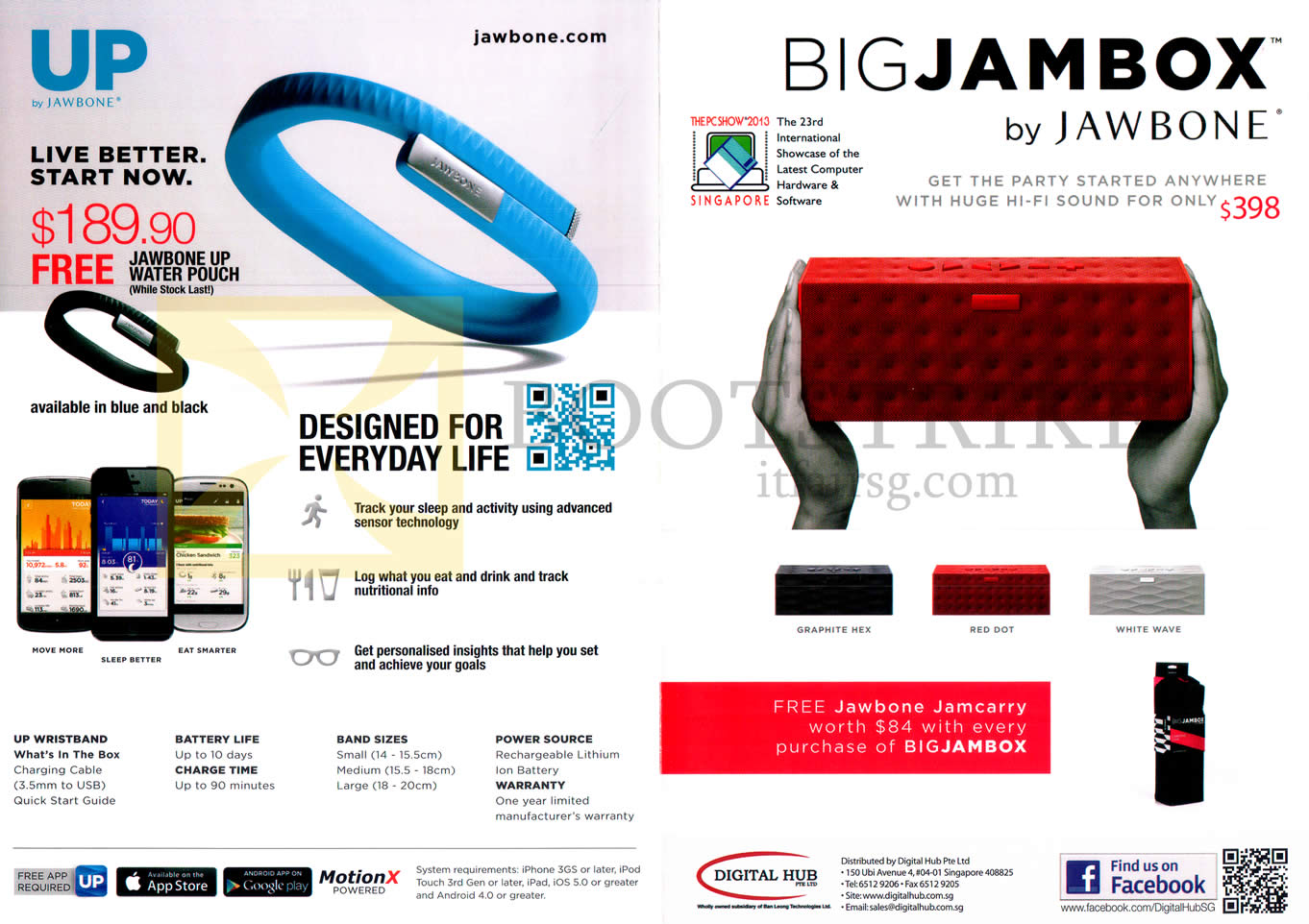 PC SHOW 2013 price list image brochure of Jawbone Up, Big Jambox By Jambone