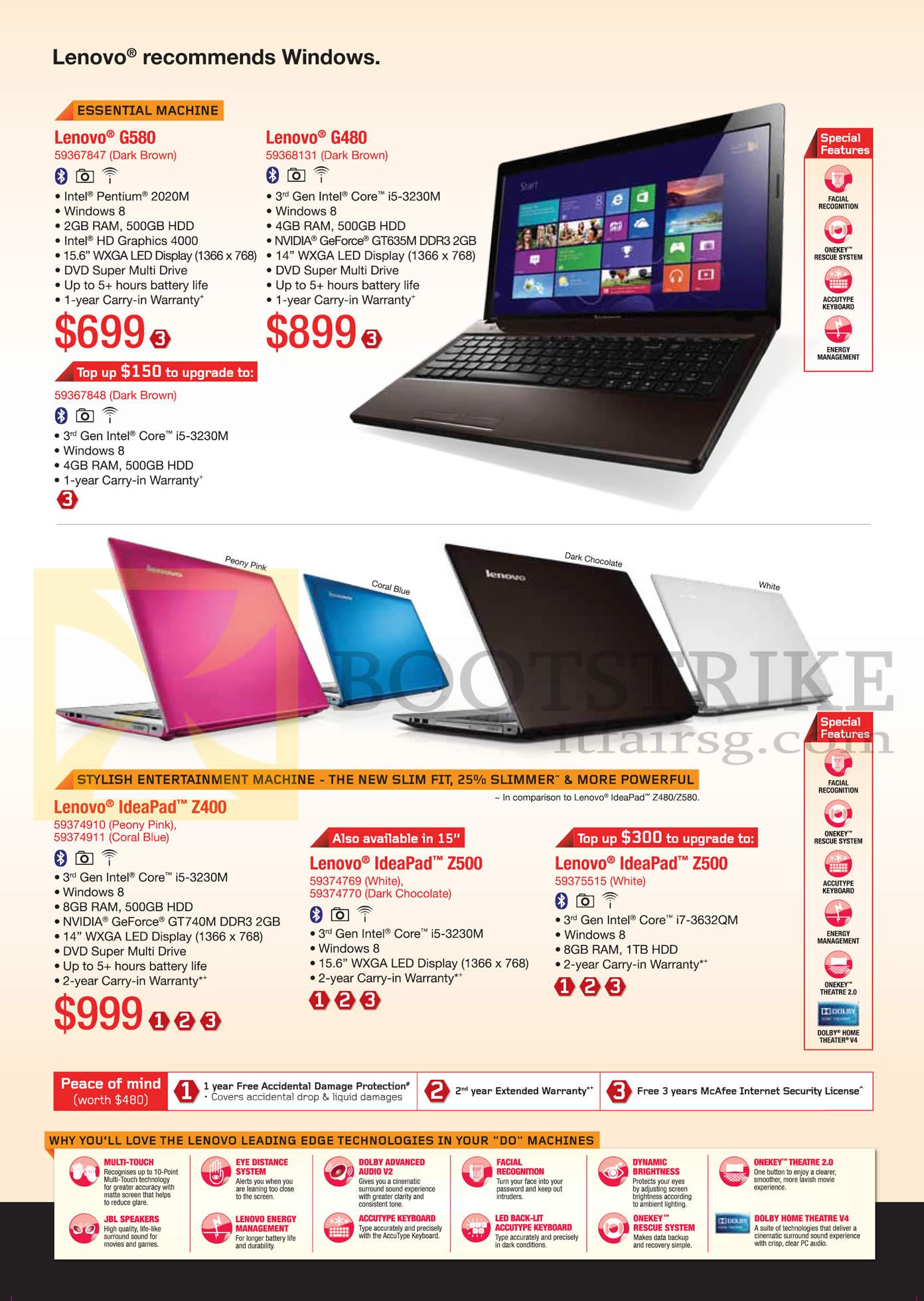 PC SHOW 2013 price list image brochure of Lenovo Notebooks G580, G480, Ideapad Z400, Z500