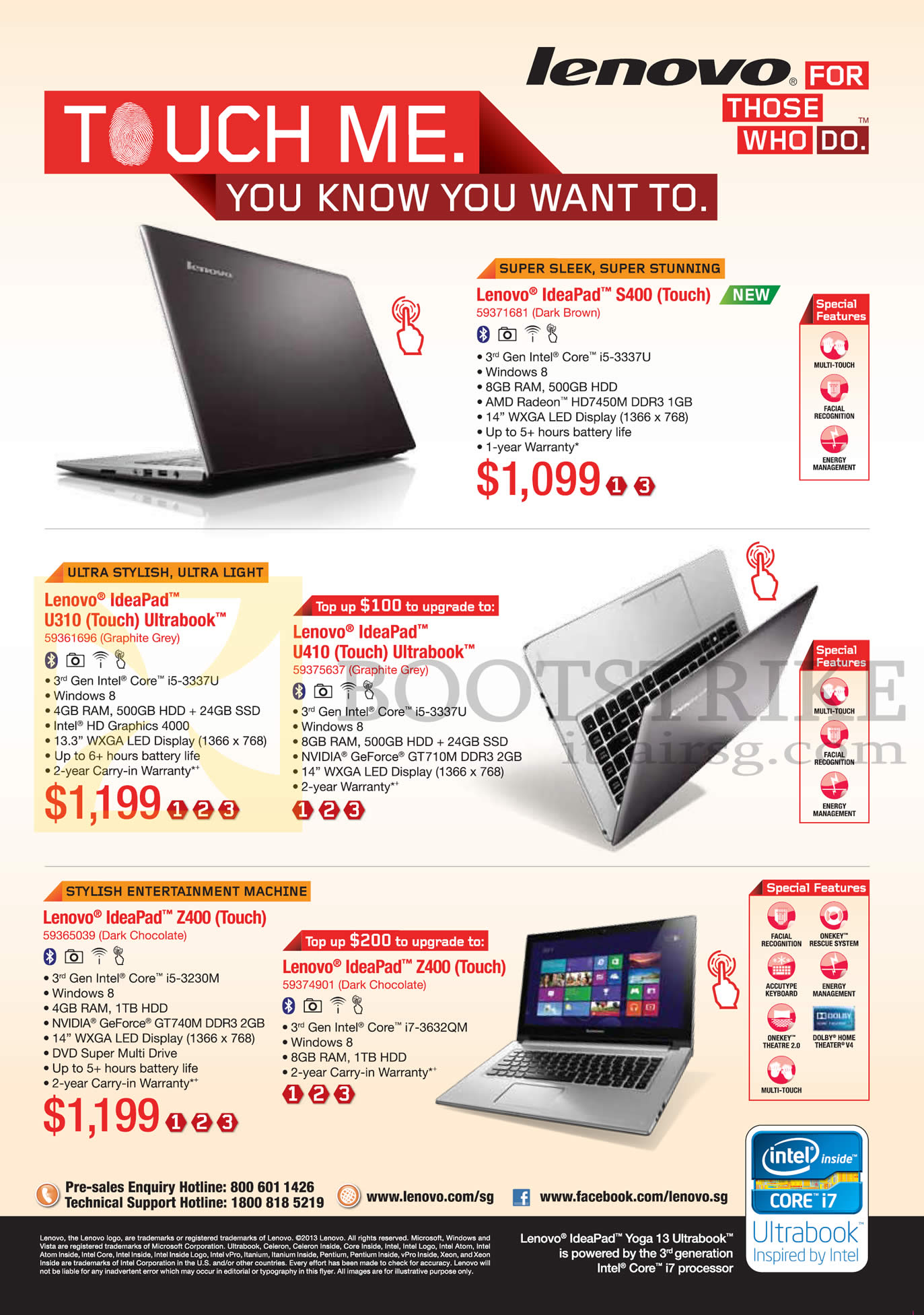 PC SHOW 2013 price list image brochure of Lenovo Notebooks Ideapad S400, U310, U410, Z400