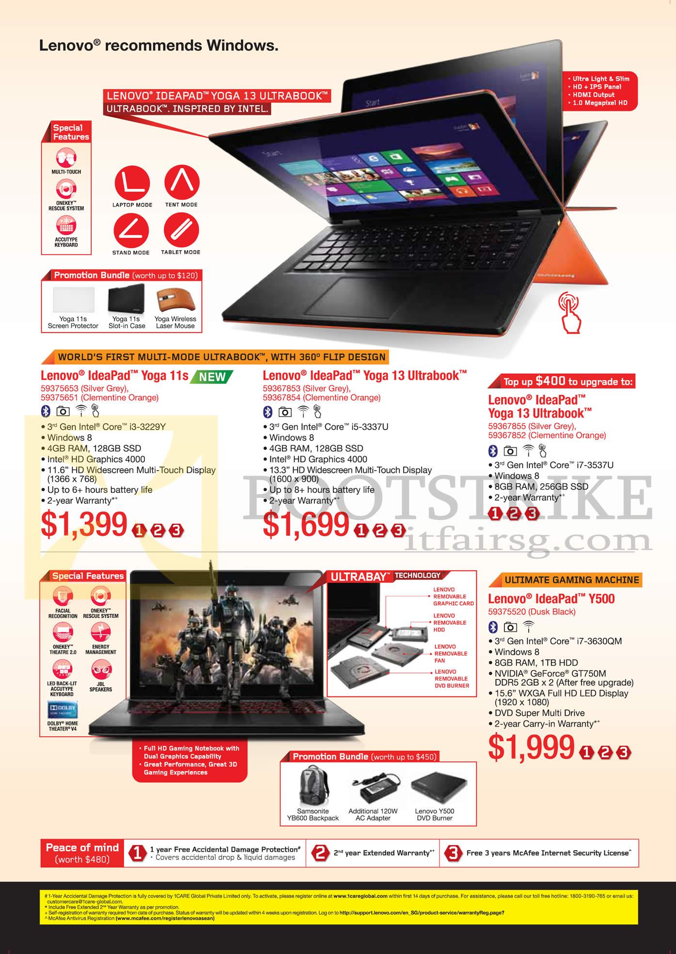 PC SHOW 2013 price list image brochure of Lenovo Notebooks Ideapad Yoga 11s, Yoga 13, Yoga Y500