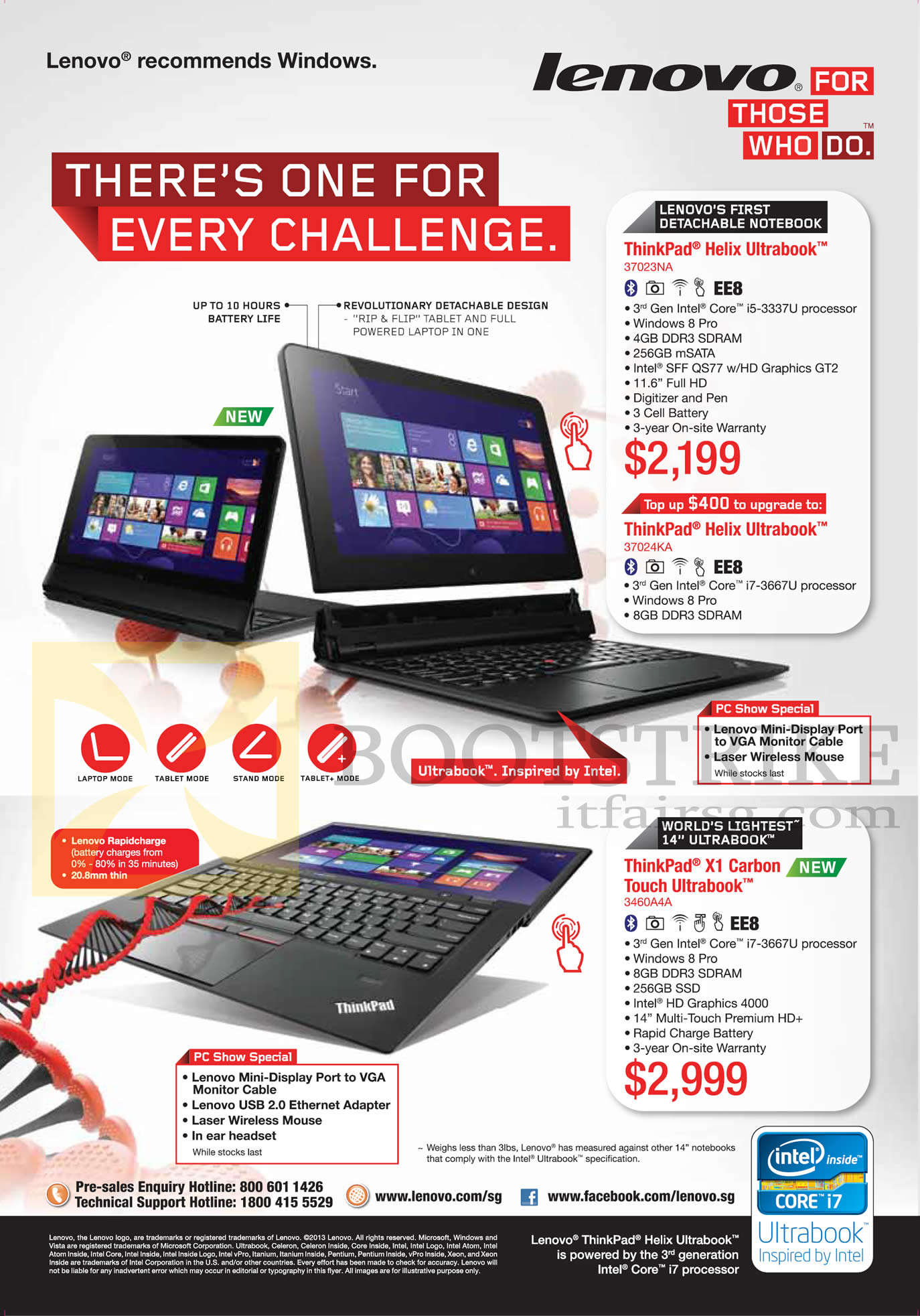 PC SHOW 2013 price list image brochure of Lenovo Notebooks ThinkPad Helix, X1 Carbon Touch
