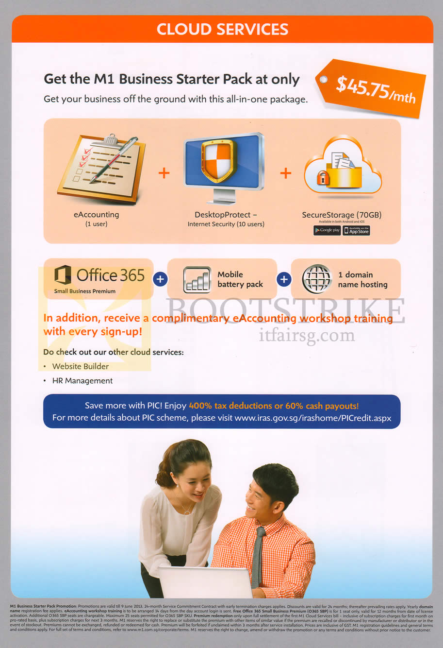 PC SHOW 2013 price list image brochure of M1 Business Cloud Services Business Starter Pack, Office 365