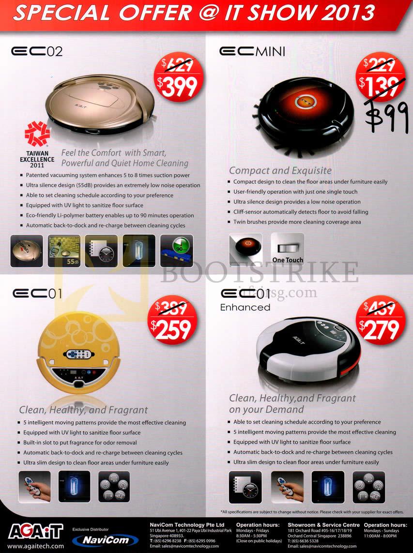 PC SHOW 2013 price list image brochure of Navicom Agait E-Clean Robotic Vacuum Cleaner EC02, EC01, Enhanced, Mini Features Price