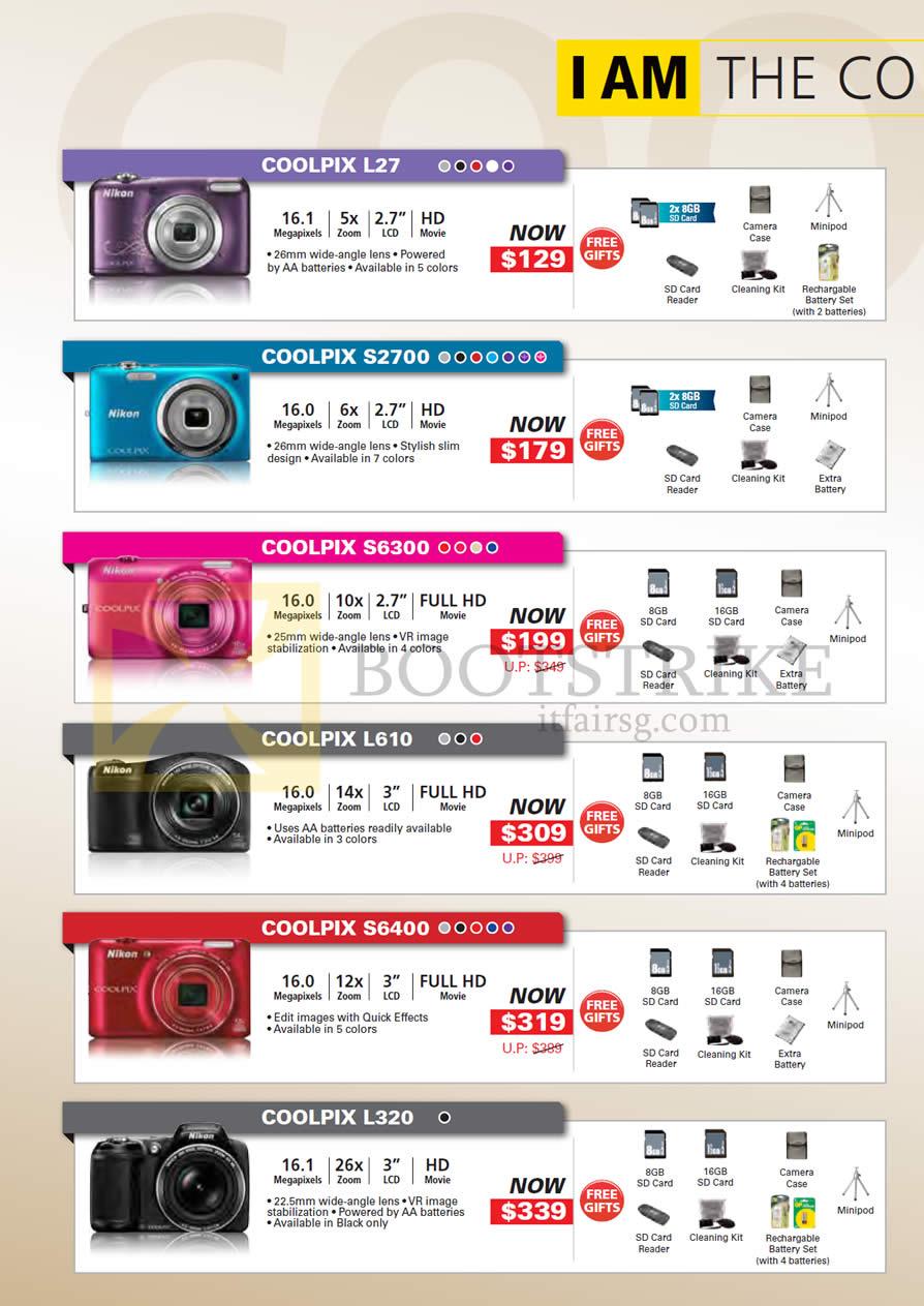 PC SHOW 2013 price list image brochure of Nikon Digital Cameras Coolpix L27, S2700, S6300, L610, S6400, L320