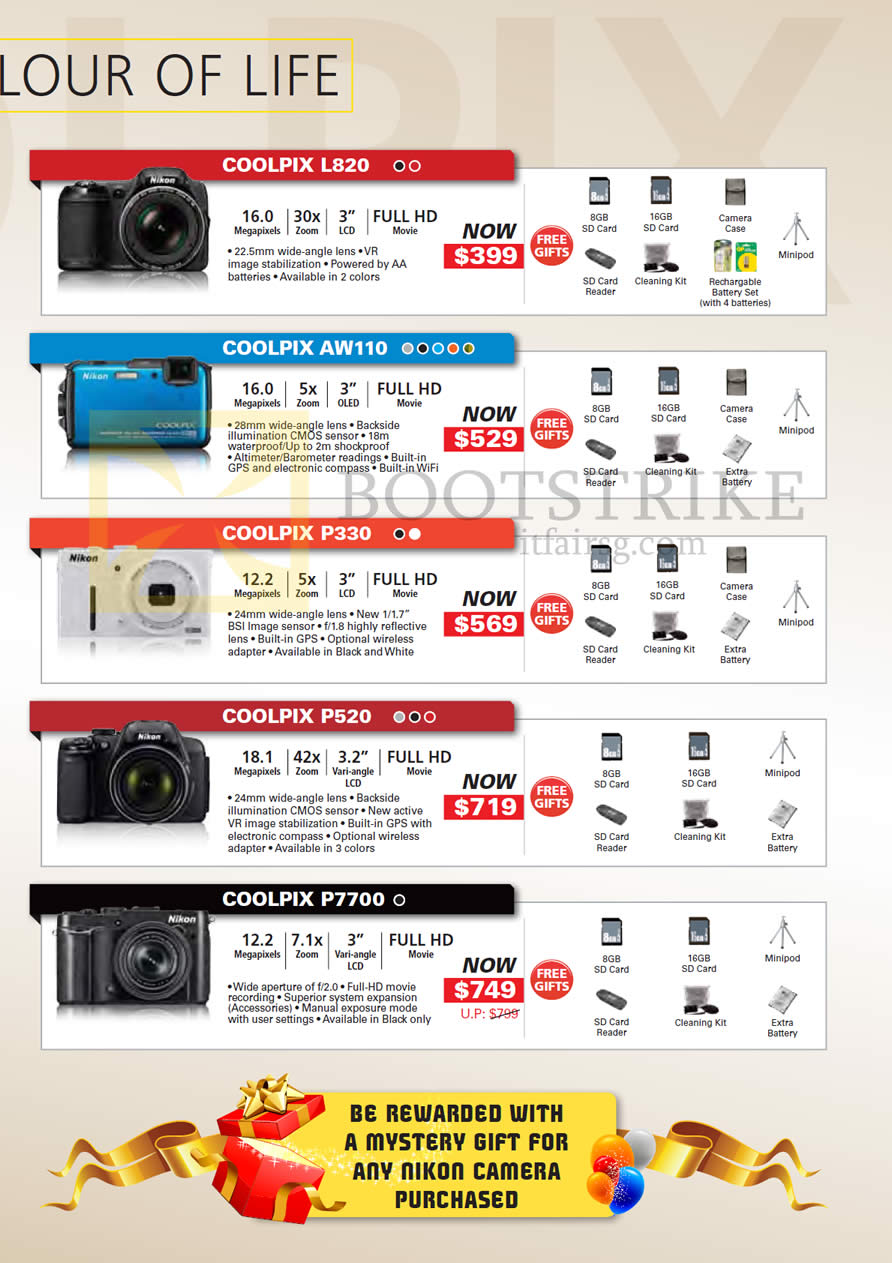 PC SHOW 2013 price list image brochure of Nikon Digital Cameras Coolpix L820, AW110, P330, P520, P7700