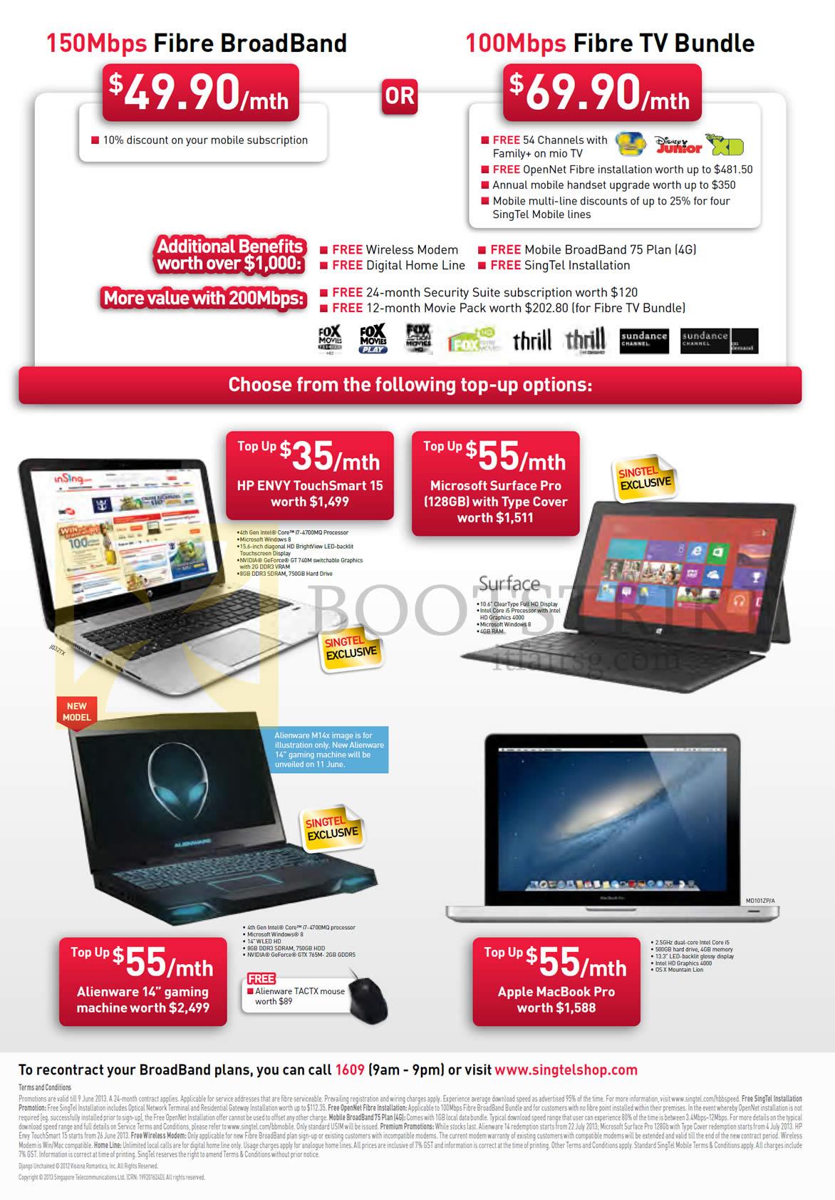 PC SHOW 2013 price list image brochure of Singtel Broadband Fibre 49.90 150Mbps, 69.90 100Mbps Fibre TV Bundle, HP Envy TouchSmart 15 Notebook, Microsoft Surface Pro, Dell Alienware M14x, Apple Macbook Pro