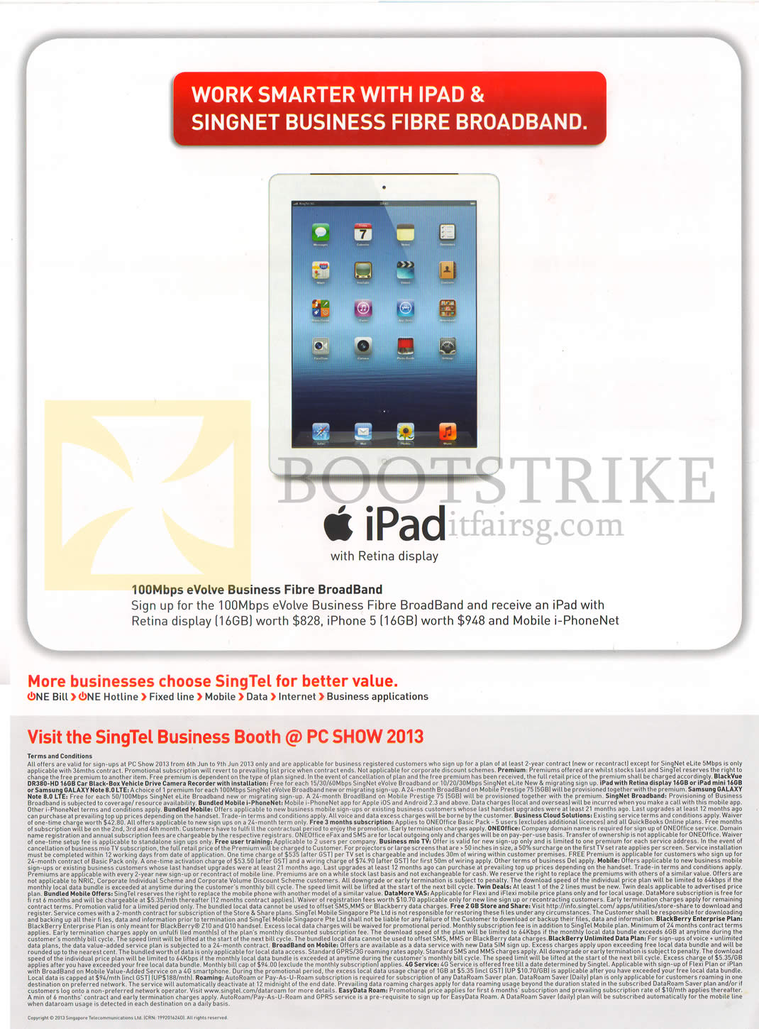 PC SHOW 2013 price list image brochure of Singtel Business Apple IPad 4, 100Mbps EVolve Fibre Broadband, Terms N Conditions