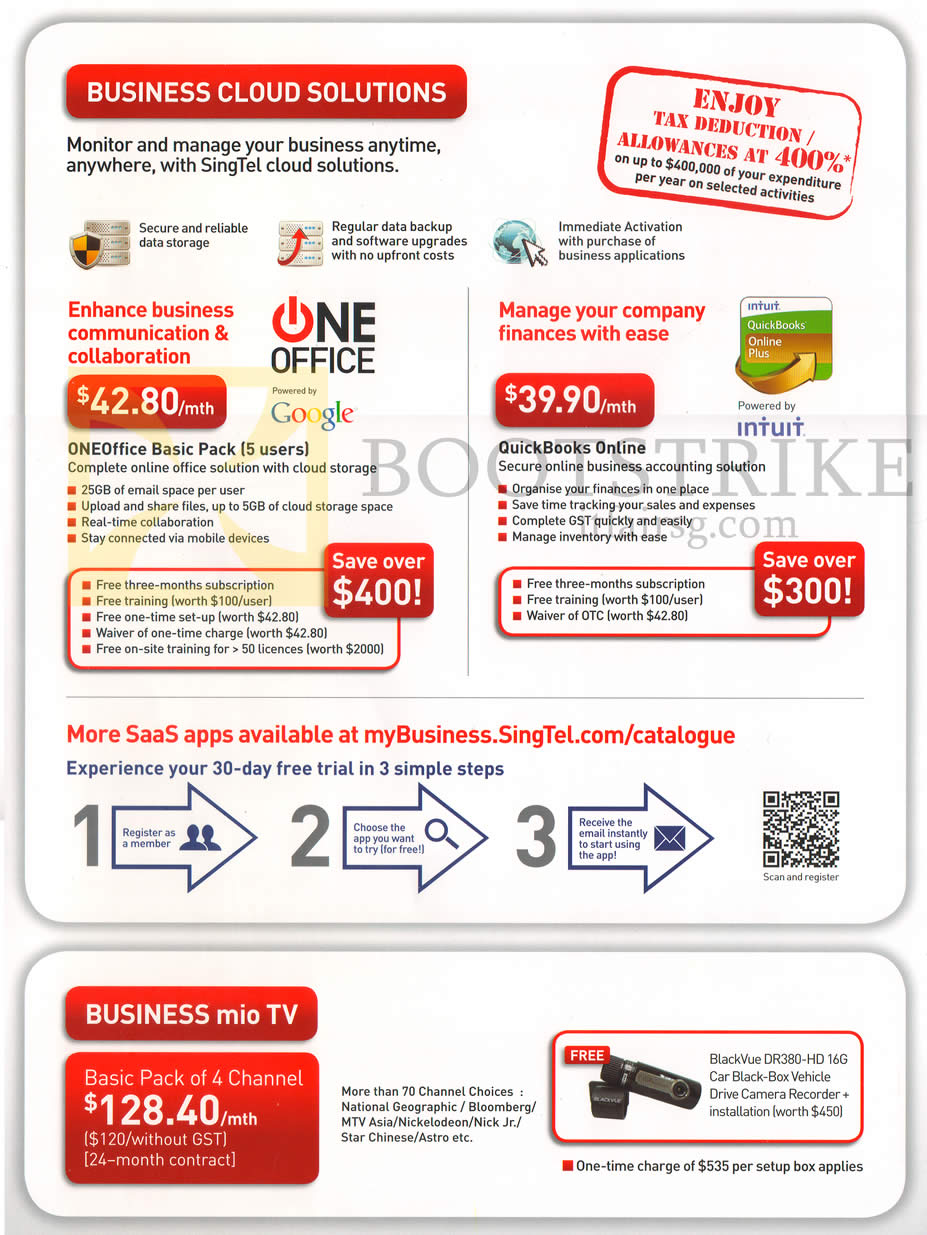 PC SHOW 2013 price list image brochure of Singtel Business Cloud Solutions OneOffice Basic Pack, QuickBooks Online, Mio TV
