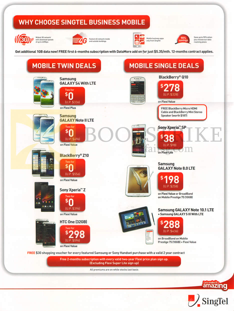 PC SHOW 2013 price list image brochure of Singtel Business Mobile Samsung Galaxy S4, Note II LTE, Note 8.0 LTE, Note 10.1 LTE, Blackberry Z10, Q10, Sony Xperia SP, Z, HTC One