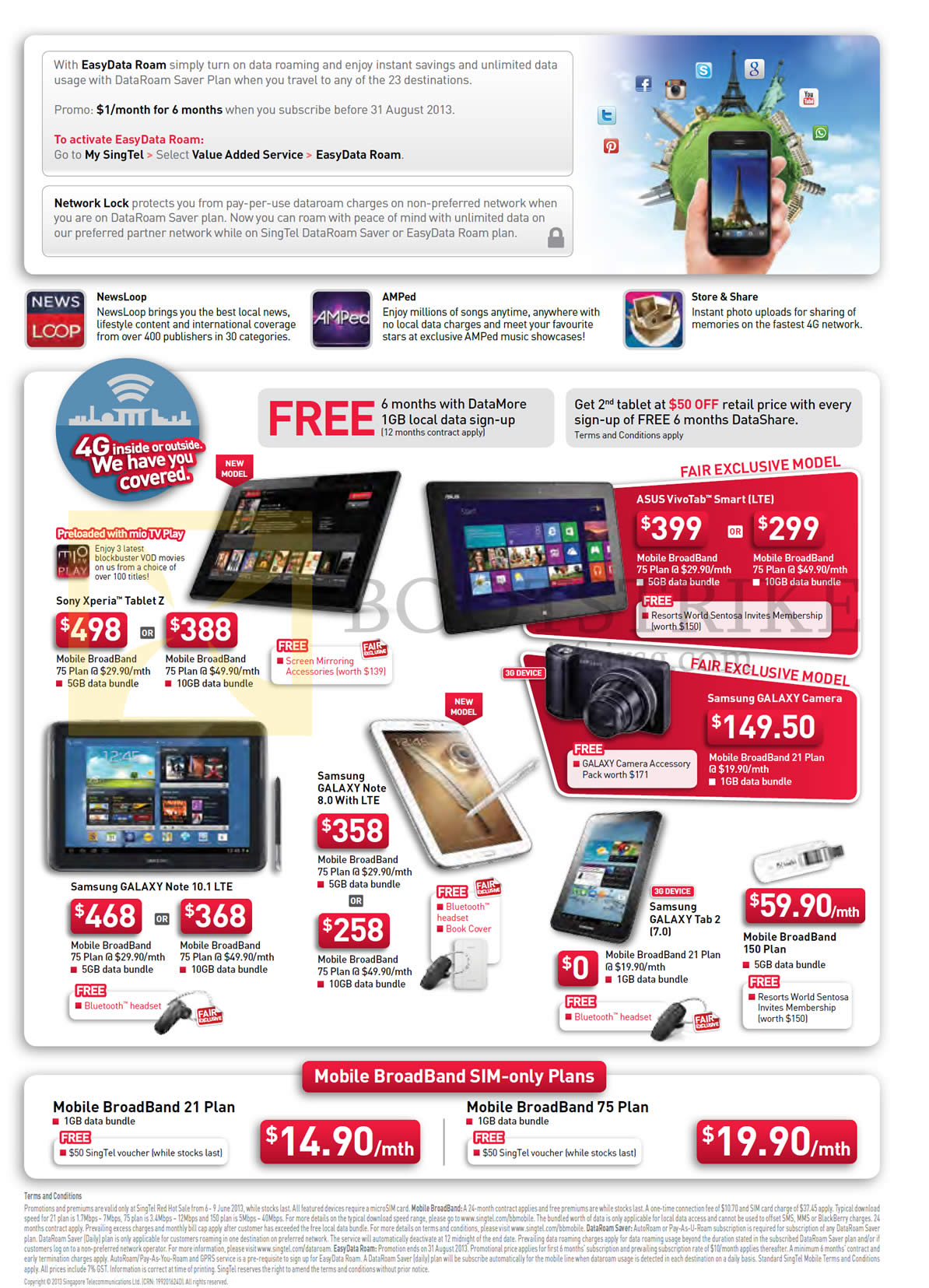 PC SHOW 2013 price list image brochure of Singtel Mobile Broadband Plans, Tablets Sony Xperia Tablet Z, ASUS VivoTab Smart LTE, Samsung Galaxy Camera, Note 8.0, Note 10.1 LTE, Tab 2 7.0