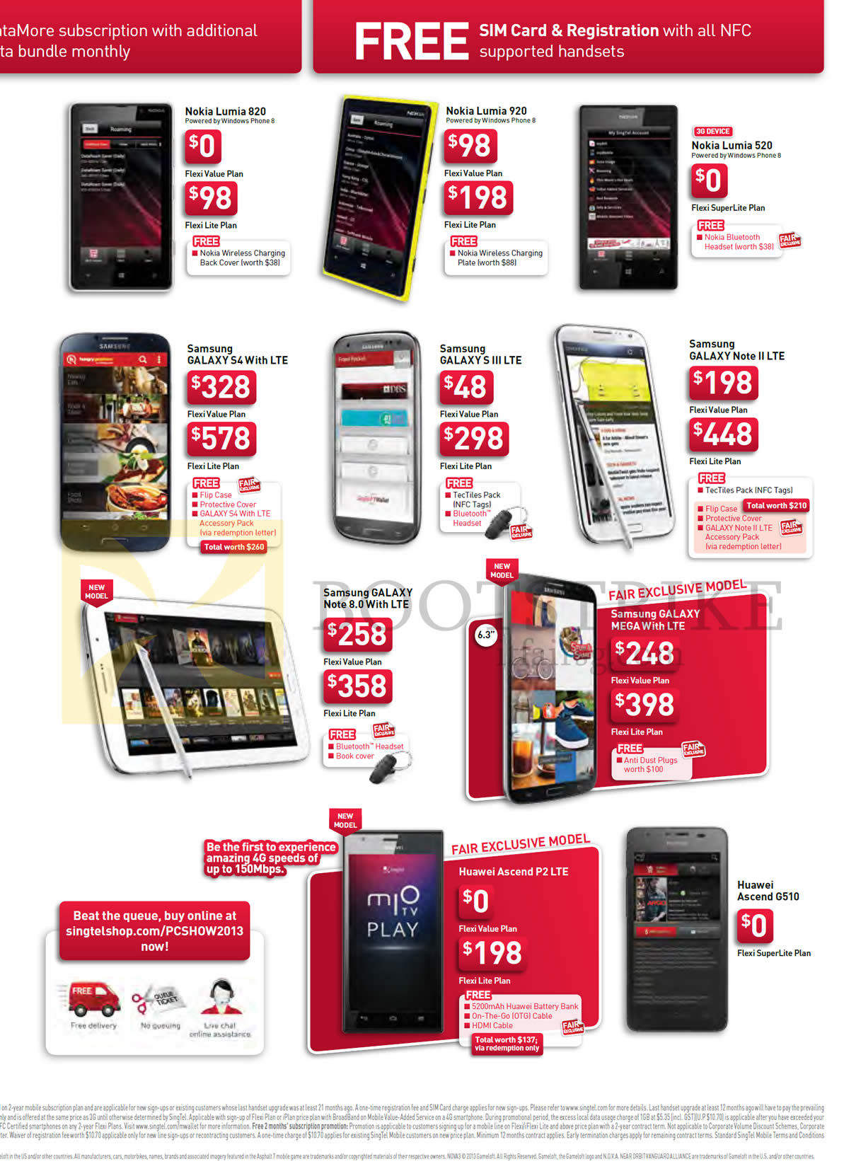 PC SHOW 2013 price list image brochure of Singtel Mobile Nokia Lumia 820, 920, 520, Samsung Galaxy S4, S III LTE, Note II LTE, Note 8.0, Galaxy Mega, Huawei Ascent P2 LTE, G510