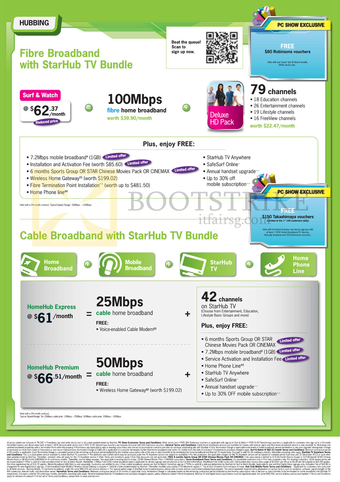 PC SHOW 2013 price list image brochure of Starhub Broadband Cable, Hubbing Surf N Watch, Deluxe HD Pack