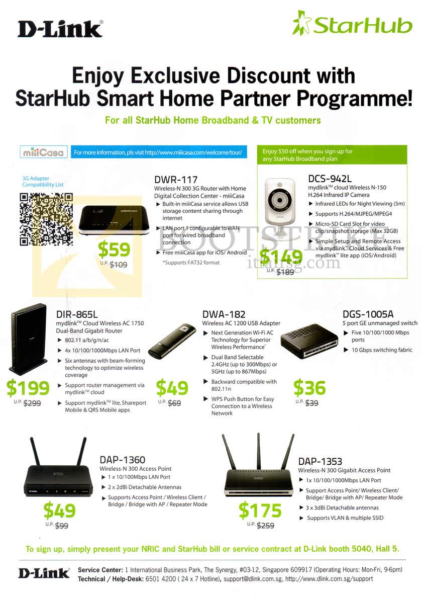 PC SHOW 2013 price list image brochure of Starhub D-Link Networking Routers DWR-117, DCS-942L, DIR-865L, DWA-182, DGS-1005A, DAP-1360, DAP-1353