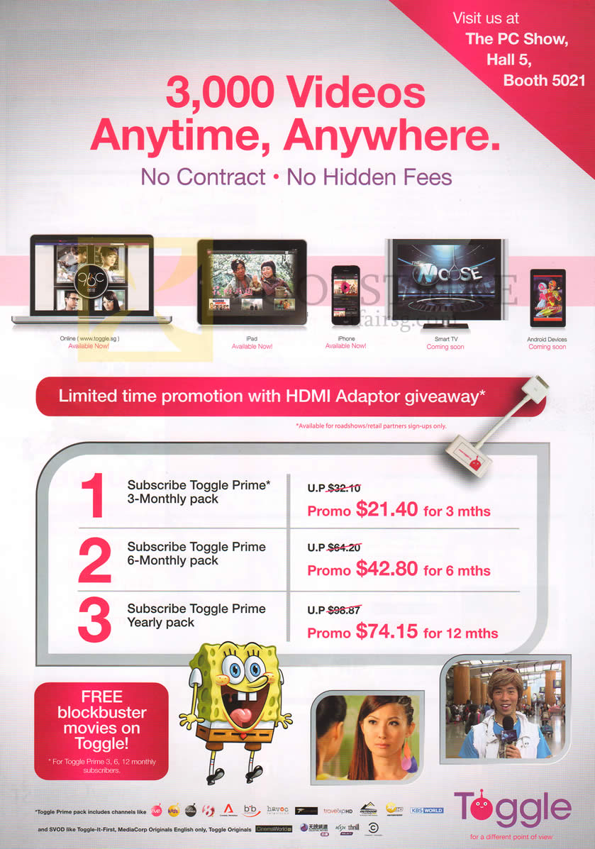PC SHOW 2013 price list image brochure of Toggle 3000 Videos Anytime, Anywhere, Prime Packs