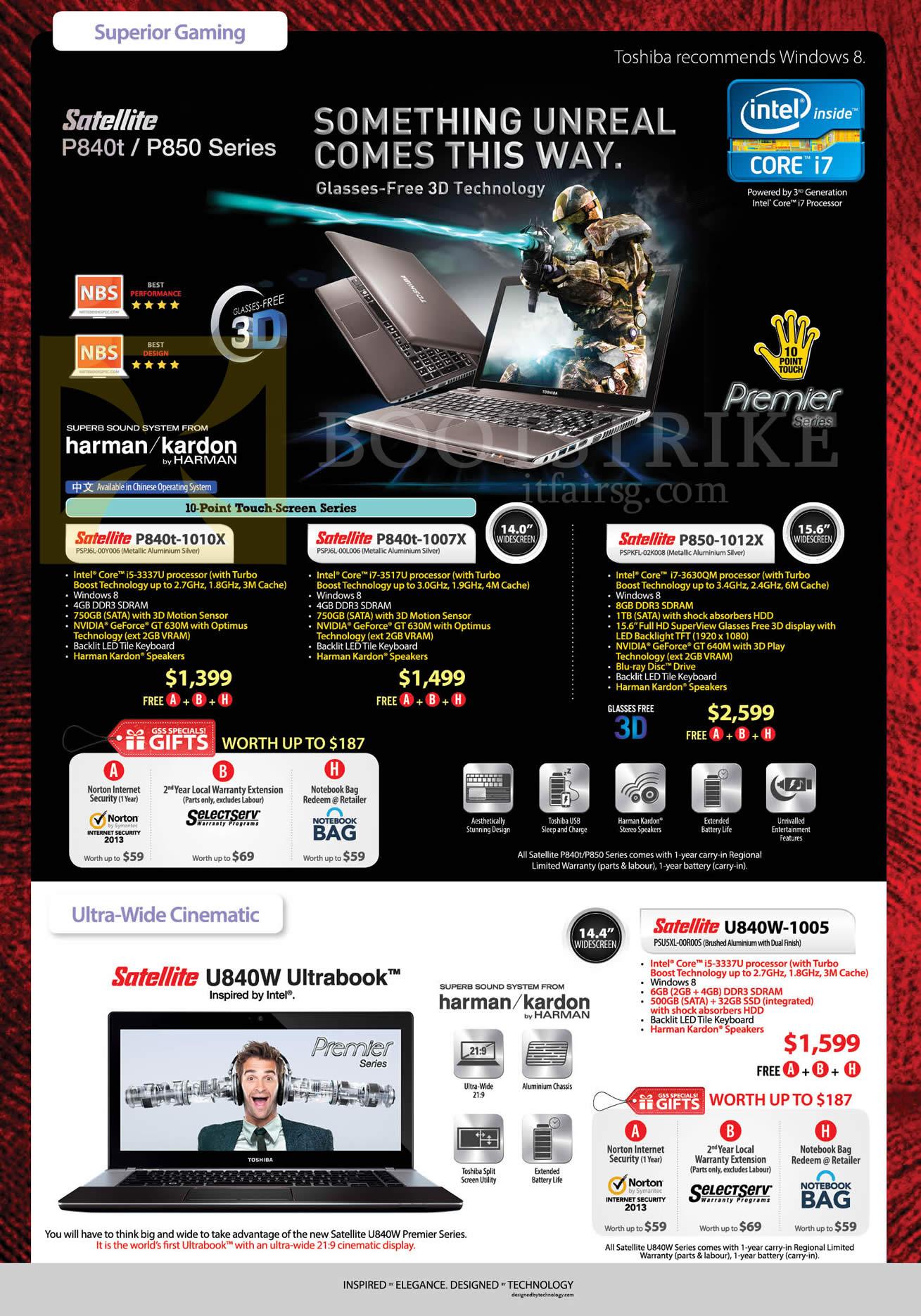 PC SHOW 2013 price list image brochure of Toshiba Notebooks Satellite P840t-1010x, 1007X, 1012X, U840W-1005