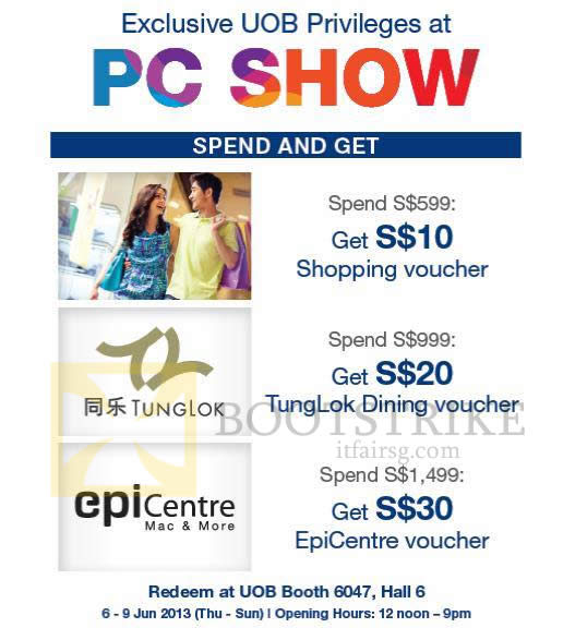 PC SHOW 2013 price list image brochure of UOB Credit Card Privileges, Spend N Get Vouchers