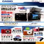 Digital Cameras ZR1000, QV-R300, JE10