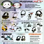 Headphones Beyerdynamic T50p, DTX501p, DTX101iE, DT990, Fischer Audio FA55, TDK BA100, BA200, Shure