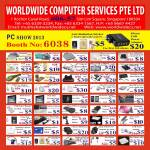 Worldwide Computer Accessories Notebook Cooling Pad, USB Fan, FM Transmitter, Case, Adapters, Screen Protector, Portable Charger, Skin, Cable, Earphones