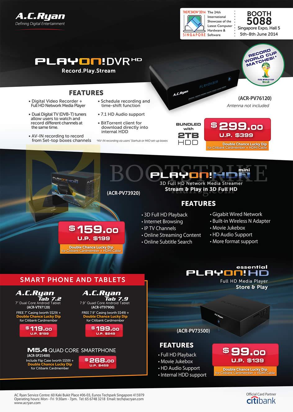 PC SHOW 2014 price list image brochure of AC Ryan PlayOn DVR HD ACR-PV76120 Recorder, Playon HD2 Mini Media Streamer ACR-PV73920, PlayOn HD Essential Media Palyer, Tab 7.2 Tab 7.9, M5.4 Smartphone