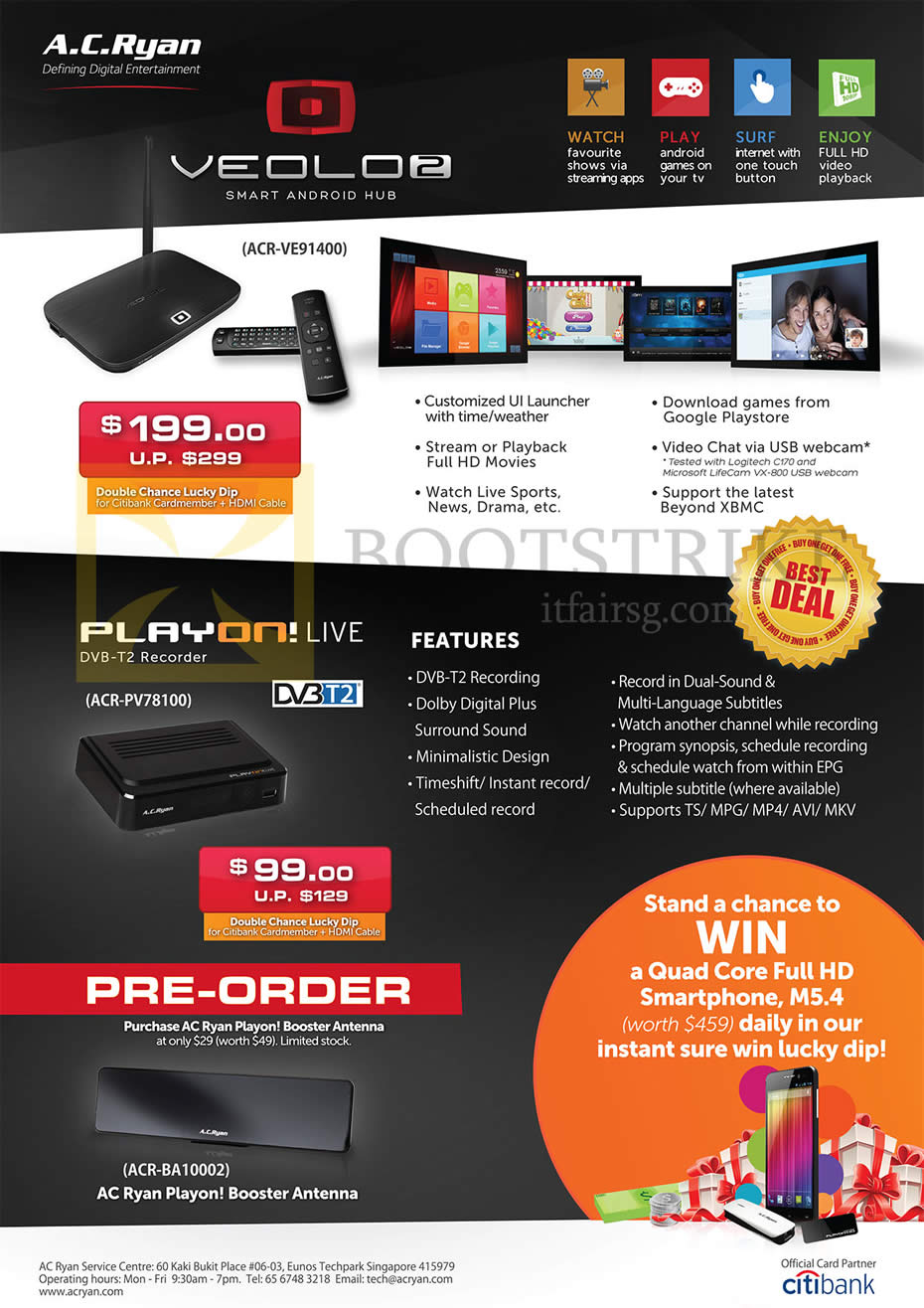 PC SHOW 2014 price list image brochure of AC Ryan Veolo 2 ACR-VE91400, Play On Live DVB-T2 DVR Recorder