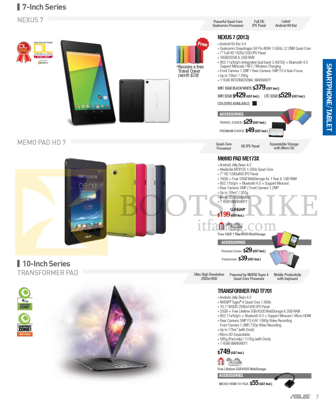 Asus smartphones tablet nexus 7 memo pad me173x for O tablet price list 2014
