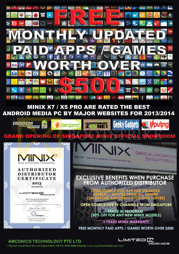PC SHOW 2014 price list image brochure of Amconics Minix X7 X5 Pro Media Hub Android Benefits, Awards, Trade-in, Warranty, Player