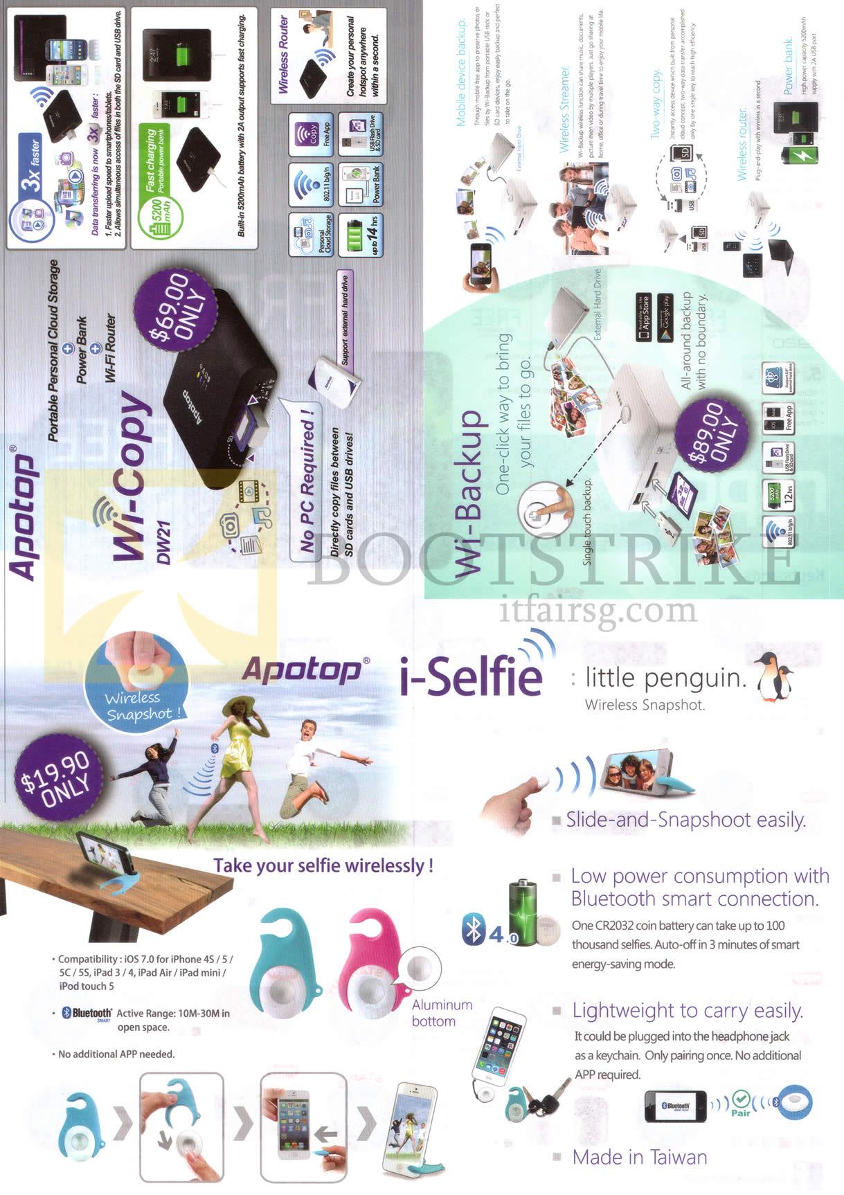 PC SHOW 2014 price list image brochure of Apotop Wi Copy DW21, Wi-Backup, I-Selfie