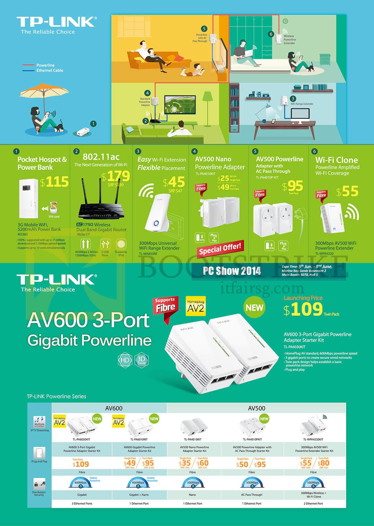 PC SHOW 2014 price list image brochure of Asia Radio TP-Link Networking Powerline AV500, AV600 Gigabit
