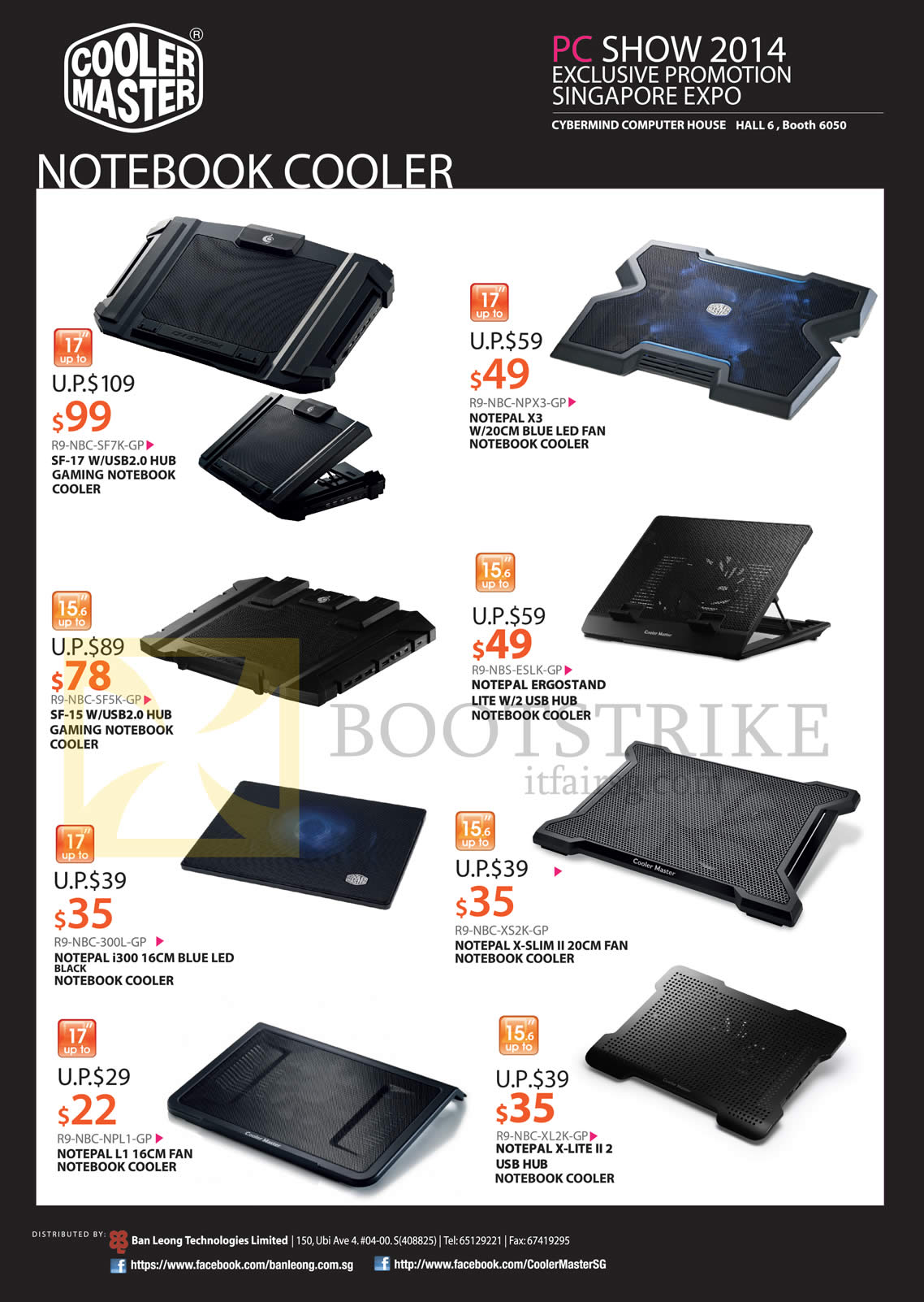 PC SHOW 2014 price list image brochure of Cybermind Cooler Master Notebook Coolers SF-17, SF-15, Notepal I300, L1, X3, Ergostand Lite W2, X-Slim II, X-Lite II