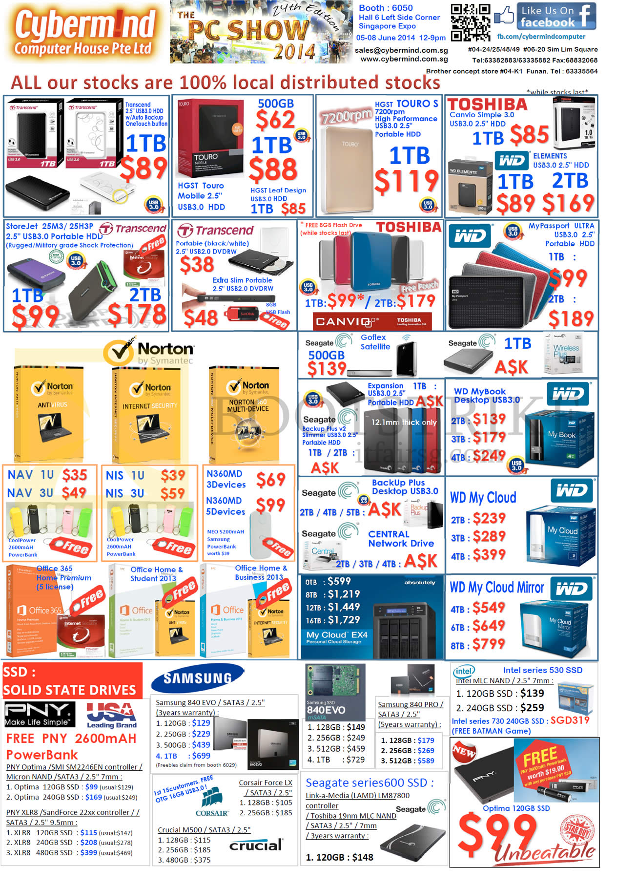 PC SHOW 2014 price list image brochure of Cybermind External Hard Disk Drives Transcend, Toshiba, Norton, Western Digital WD, Seagate, Microsoft Office, SSD, Samsung EVO, Intel