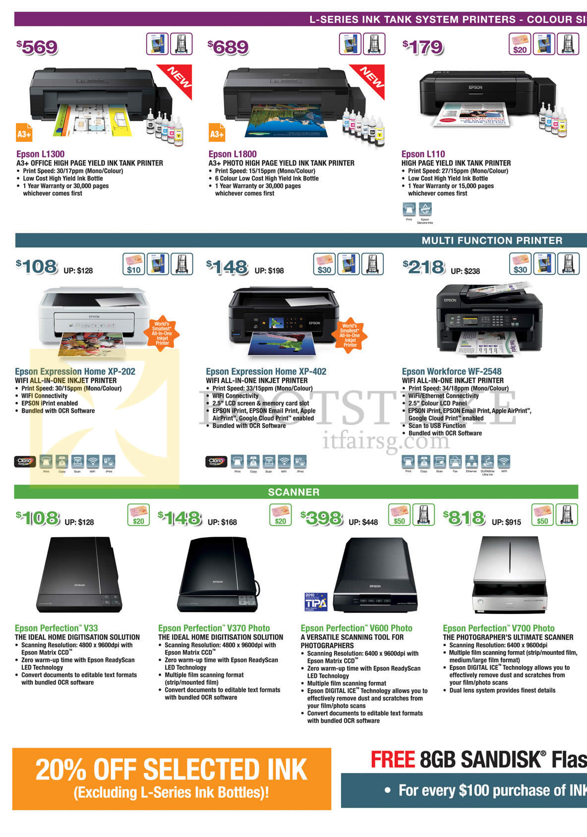 Epson Printers Inkjet Scanners L1300 L1800 L110 Expression Home Printer Pc Show 2014 Price List Image Brochure Of