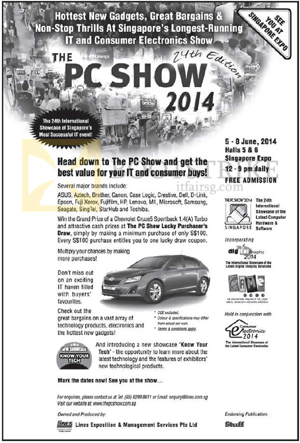 PC SHOW 2014 price list image brochure of Event Details, Location, Opening Hours, Lucky Draw