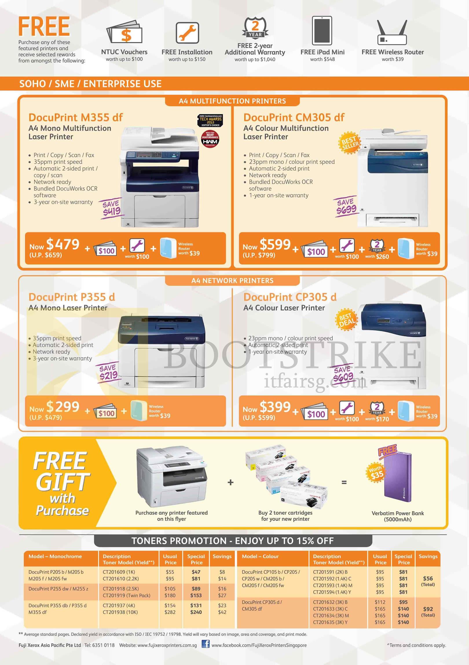 Fuji Xerox Printers, Toners, DocuPrint M355df, CM305df, P355d