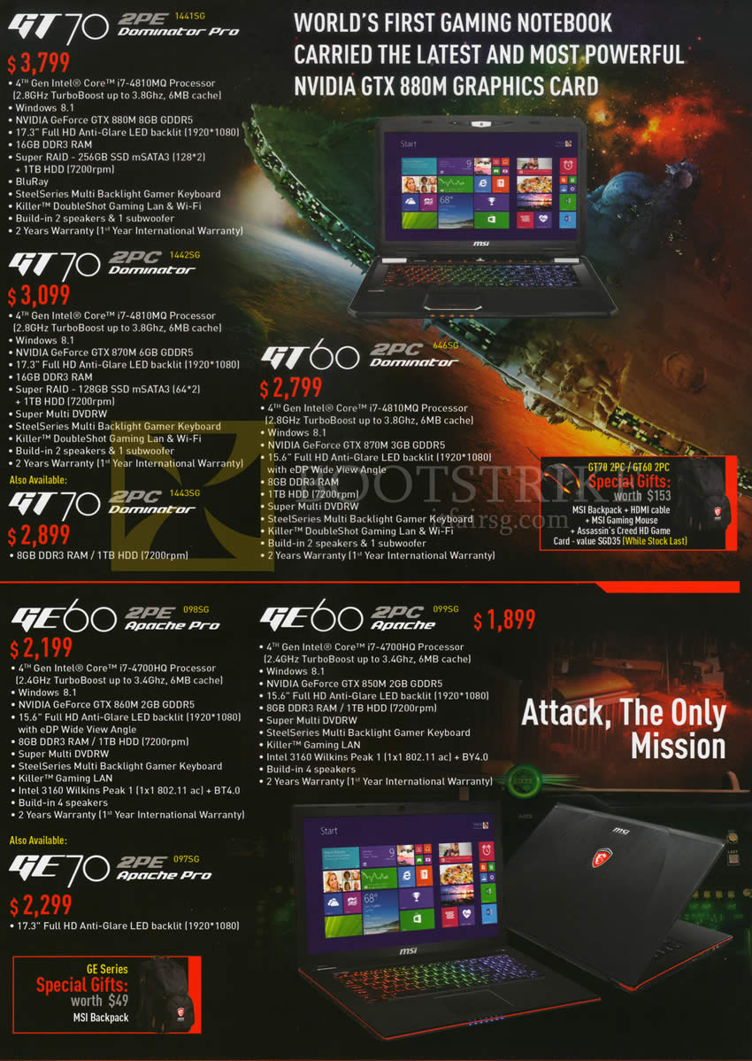 Gamepro MSI Notebooks GT70 2PE 1441SG, GT70 2PC 1442SG